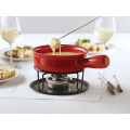 8.3'' Cast Iron Fondue Set With Enamel Coating And 6 Fork For Restaurant And Bar